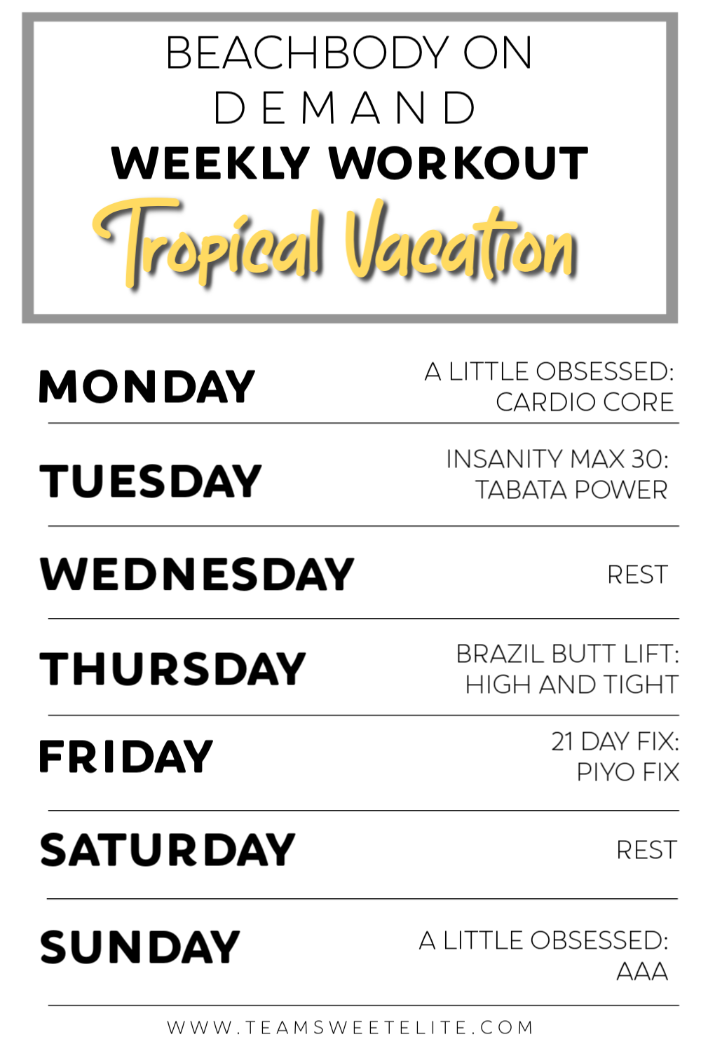 Beachbody On Demand Weekly Workout: Tropical Vacation Prep