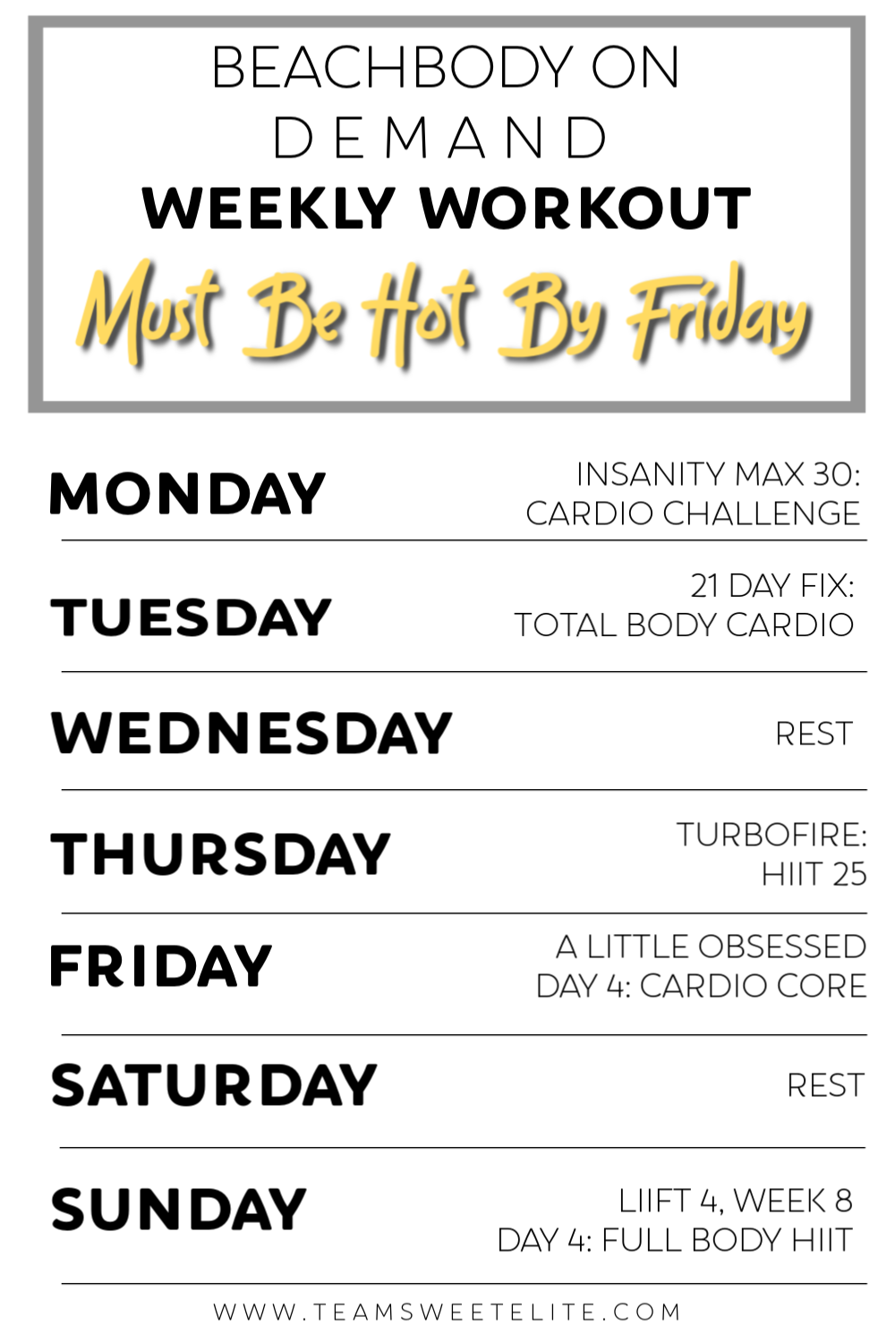 Beachbody On Demand Weekly Workout: Must Be Hot By Friday - Team